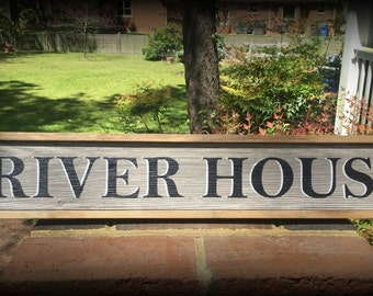 River Sign. River House Sign. Unique Hand-made Sign for your Home on the River.  Great Gift Idea.