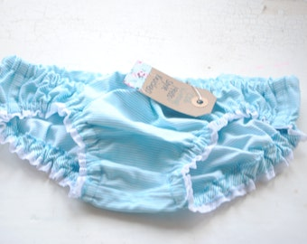 Blue and white striped girls knickers 1940s 1950s vintage reproduction