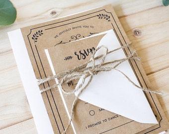 DIY Rustic Wedding Invitation Set