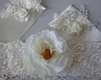 Bridal sash.  Ball gown sash. Hand made.Turkish lace,