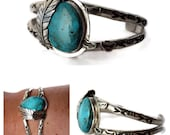 """The """"Free Bird"""" Turquoise Cuff Bracelet - Royston Turquoise and Sterling Silver - Adjustable - Small Size - Boho Bracelet"""