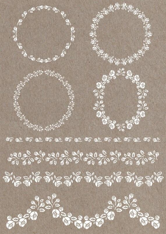 4 cornici e 4 bordure bianche floreali rose file digitali for Cornici bianche
