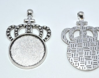 3pcs Bezel Tray, Cabochon Setting Frame Crown, Round Setting, Pendant Tray, 25mm Tray, Silver Bezel, Bronze Bezel, Jewellery Supplies