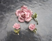 Vintage 1950s signed Coro porcelain pink rose brooch & clip earring set