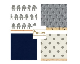 Classic Navy & Gray Crib Bedding - Custom 3 piece Crib Bedding - Crib Skirt, Crib Sheet and Blanket
