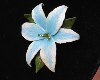 LILY BROOCH/ Flower Brooch/ Lily Pin/ Leather Brooch/ Flowers/ Blue Flower/ Brooch/ Vintage Brooch/Lilies