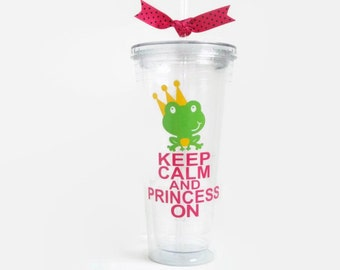 Personalized Acrylic Cup Lg by Sweet Bee Cups - Keep Calm and Princess On - Cute Frog- Personalized Large 20 oz Acrylic Tumbler Cup BPA FREE
