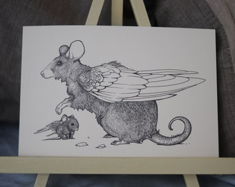 Mouse and Baby Drawing, Mouse and Baby Art, Mouse Postcard, Mouse with Wings Art, Mouse with Wings Drawing, Winged Mouse, A6 Print