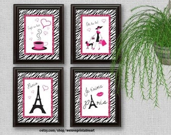 Paris Decor, Paris Art Prints, Pink and Black, Paris Bedroom Decor, Girls Bedroom Decor, Wall Art, Zebra Print