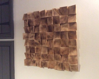 Solid Chunky Wood Wall Art Mosaic Sculpture Picture