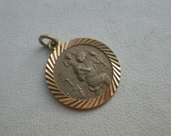Vintage 9ct Yellow Gold St Christopher Necklace Pendant Charm