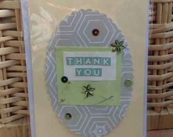 Handmade Greetings card / Thank you / Green & Cream