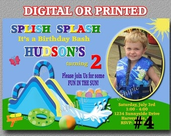 Water Slide Birthday Invitation Boy YOU Print Digital File or PRINTED, Boys waterslide invitation, Printable, Waterslide party invitation