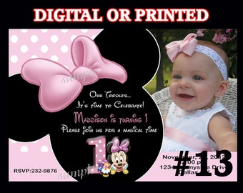 Baby Minnie Mouse First Birthday Invitations YOU PRINT or PRINTED Birthday Party Invitation