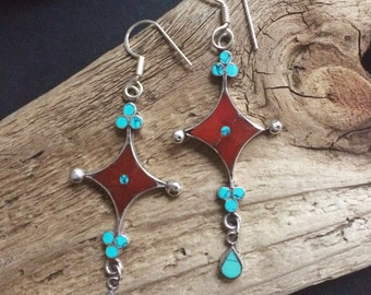 Native American Old Pawn Drop Earrings,  Handcrafted Southwestern Turquoise, Coral and Sterling Vintage Earrings.