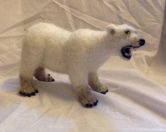 Polar bear sculpture - needle felted polar bear - wool animal sculpture - felted white bear - Christmas decoration