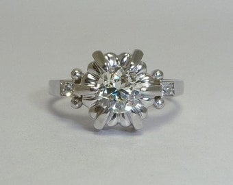SALE French Art Deco 0.74ct Diamond Engagement Ring in Platinum