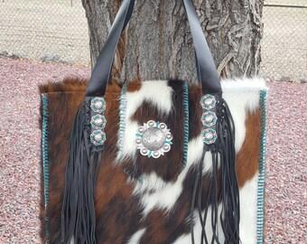 X-LARGE COWHIDE Purse Tote Diaper Bag w/Leather Fringe & Swarovski Crystal Conchos * Design Your Bag Today*