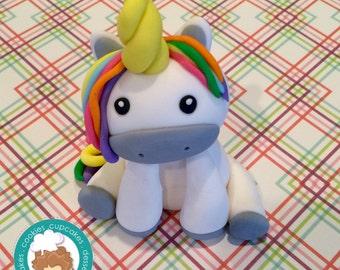 Rainbow Unicorn fondant cake topper