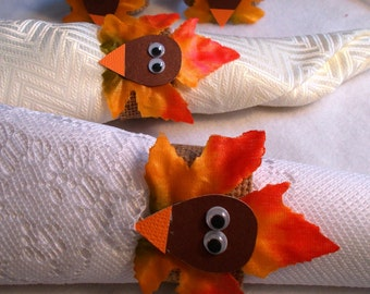 Tom Turkey Thanksgiving Napkin Rings