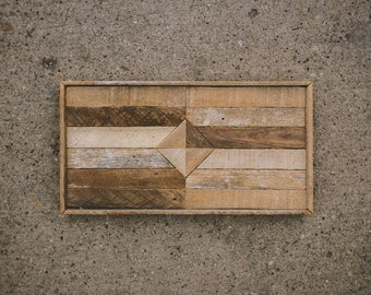 handcrafted salvaged wood lath wall art