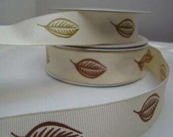 Ribbon, Grosgrain, Spring, Leaf design, Vintage, 3 Yards