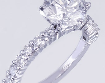 18K White Gold Round Cut Diamond Engagement Ring Deco Prong 2.10ct I-SI1 GIA