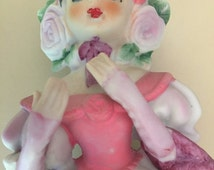 SALE Lefton Figurine Girl in Pink Dress with Parasol 1960s Vintage Sticker on Place