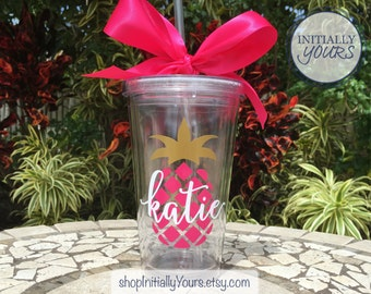 Personalized Pineapple Tumbler, Preppy Pineapple Cup, Custom Tumbler, Girls Weekend, Beach Vacation, Personalized Gift