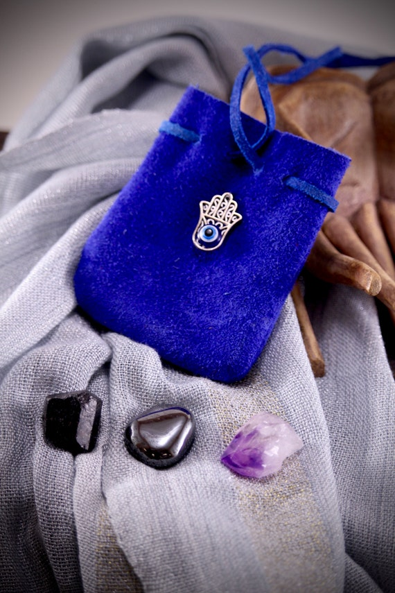 Evil Eye Protection Crystal Bag Hamsa Leather Pouch with