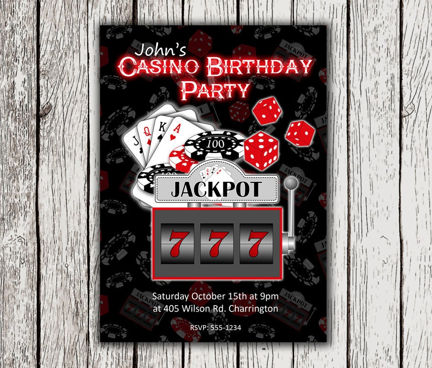 It's just an image of Adaptable Free Printable Casino Party Invitations