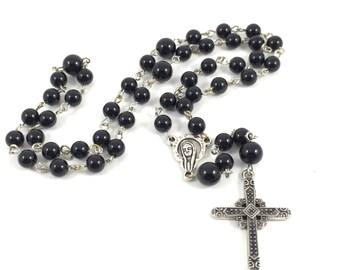 Black Jasper Gemstone Rosary; Black Catholic Rosary, Black Rosary