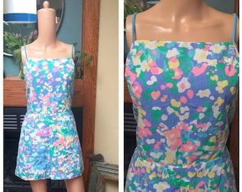 Vintage 60s Sun Suit Romper Swim Bathing Playsuit Pinup Cotton Beach Dress L XL