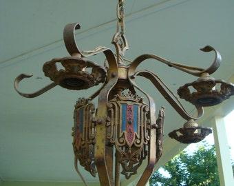 Vintage Antique Cast And Wrought Iron Ceiling Chandelier Pendant Lamp Light Fixture Art Deco Lighting For Rewire Refurbish Hanging Lamp 1920