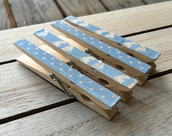 Baby Boy Magnets, Blue Clothespin Magnets, Blue Refrigerator Magnets