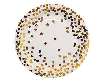 GOLD CONFETTI PLATES (Set of 10) - Metallic Gold Confetti Plates  (23cm / 9 inch diameter)