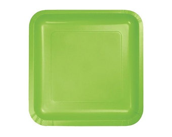 GREEN PAPER PLATES (Set of 14) - Lime Green Square Paper Plates  (23cm x 23cm / 9 x 9 inch diameter)