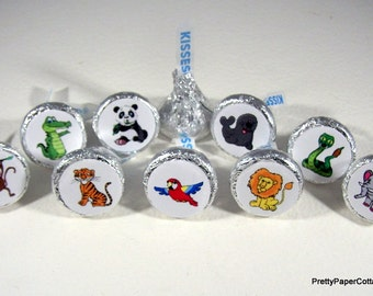 Zoo Animals, Hershey Kiss, Stickers, Party, Favors, Small, Envelope Seals, Letter Stickers, 108 Stickers