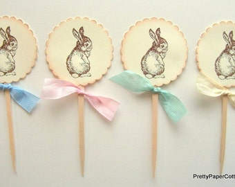 Baby Bunny Rabbit Cupcake Toppers, Baby Shower, Birthday Party, Easter, Set of 12