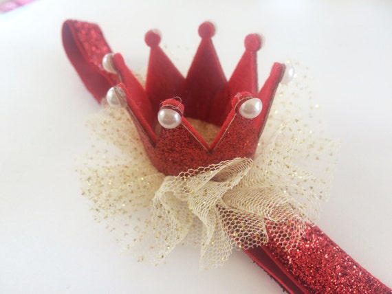 Glitter Crown Headband for Christmas - 1st Christmas Baby Headband - Red Crown Headband - First Birthday Crown Head Band - Christmas Prop