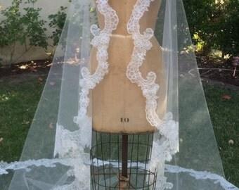 Veil, Chantilly Lace Mantilla, Wedding Veil, Mantilla Veil,  Bridal veil, Lace Veil, Couture Veil, Lace Mantilla- CECILY  CHANTILLY VEIL