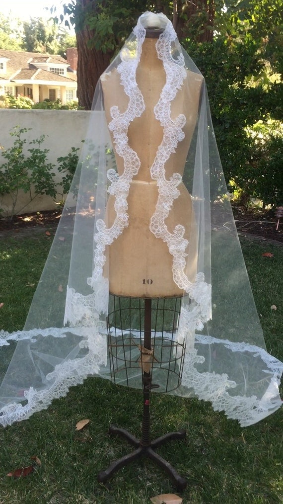 Veil, Chantilly Lace Mantilla, Wedding Veil, Mantilla Veil,  Bridal veil, Lace Veil, Couture Veil, Lace Mantilla- CECILY  CHANTILLY VEIL