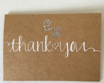 Set of 20 Kraft Thank You Cards - Baby Cards - Baby Shower Cards -  Cute Baby Cards - Baby Thank You Cards #2037