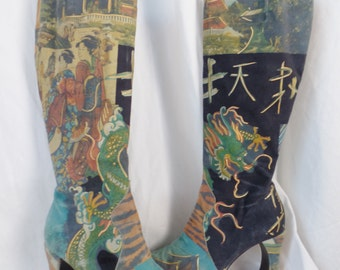 80s CHARLES JOURDAN  Japanese Tattoo photo transfer printed and painted suede boots/ geisha+dragons: size 5.5 US woman