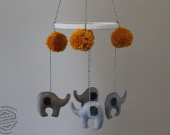 Baby Mobile, Elephant Mobile, Hanging Baby Mobile, Animal Mobile Nursery Decor-Customized