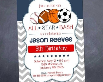 Printable Sports Birthday Party Invitation - 5x7 - All Star Sports - Birthday or Shower