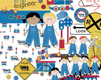 Little Engineer Train Clip-art & Digital papers, scrapbooking, CU, INSTANT DOWNLOAD, graphics, digital scrapbooking, Kids, Paper Dolls, Sign