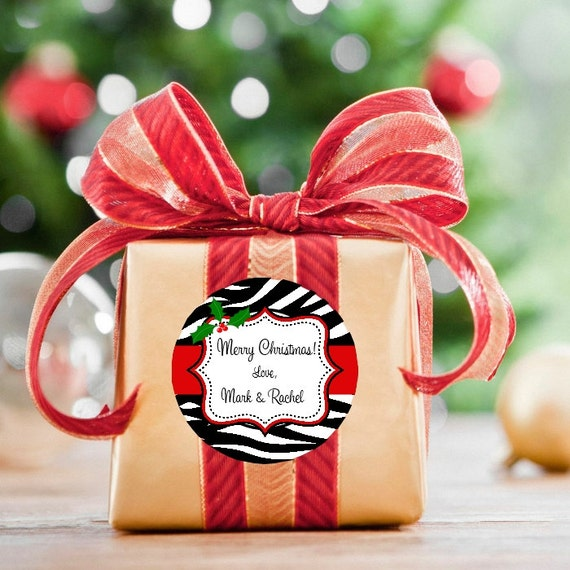 Zebra Christmas Stickers - Round Christmas Stickers - Personalized Stickers - Christmas Tags - Round Labels - Zebra Print Stickers