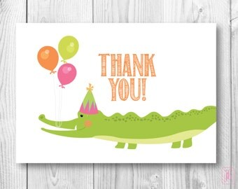 Thank You Note Cards | Birthday Gator Thank You Notes