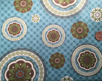 Cotton Blossoms by Bonnie and Camille for Moda -  Half Yard - Aqua Mandalas - 55001-11